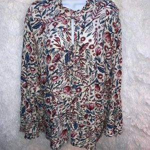 Style & Co bell sleeve bohemian blouse Sz 3X